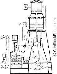 Sectional view of the machine of Normandy, vintage engraving.