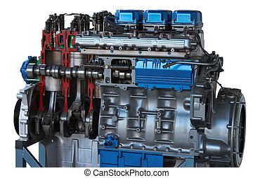 sectional view of truck engine. cutaway model