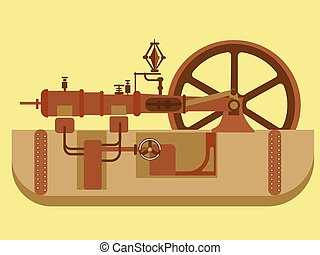 sectionnel, vapeur, engine., style, minimaliste, plat, vecteur, dessin animé