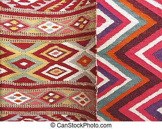 sections, divisé, tapis, deux, fond, coloré