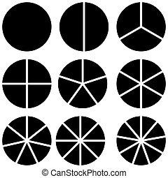sector, información, datos, círculos, conjunto, vector, ...