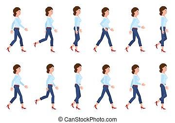 secuencia, carácter, mujer, delantero, conjunto, lento, persona, caricatura, ambulante, posturas, rápido, adulto, vector, joven, illustration., mudanza, yendo, vaqueros