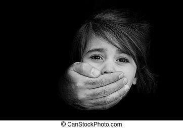 secuestro, foto, concepto, -, niño