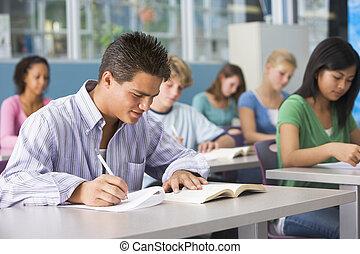 secundair onderwijs, stand, schooljongen