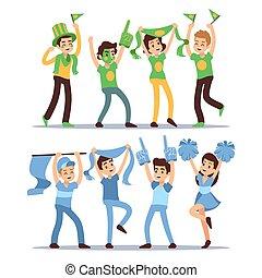 secundario, conjunto, grupo, gente, deportes, gritos, vector, teams., diversión, feliz