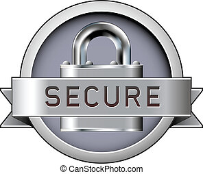 Secure badge vector - Secure badge with padlock in stainless...