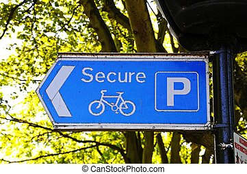 Secure bicycle parking sign.