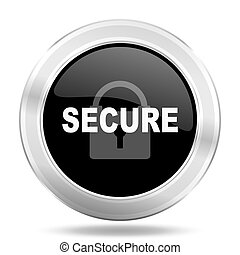 secure black icon, metallic design internet button, web and mobile app illustration