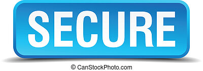 Secure blue 3d realistic square isolated button