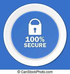 secure blue flat design modern web icon