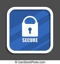 Secure blue flat design square web icon