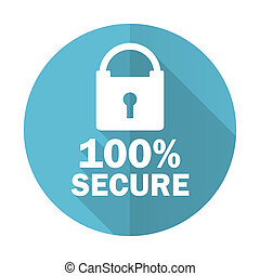 secure blue flat icon
