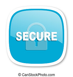 secure blue glossy web icon