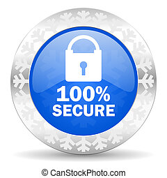 secure blue icon, christmas button