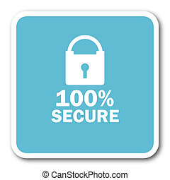 secure blue square internet flat design icon