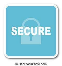 secure blue square internet flat design icon