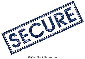 secure blue square stamp