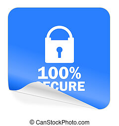 secure blue sticker icon