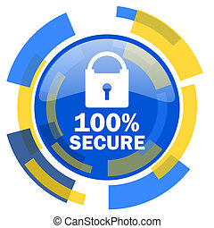 secure blue yellow glossy web icon