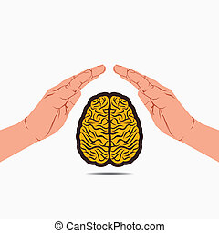 secure brain under hand or save knowledge concept vector