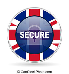 secure british design icon - round silver metallic border button with Great Britain flag
