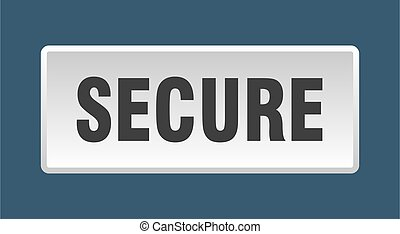 secure button. secure square white push button
