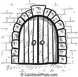 Secure castle door sketch - Doodle style castle door in...