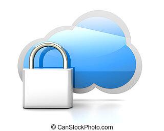 Secure cloud - Secure cloud computing. 3D rendered...