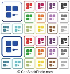 Secure component color flat icons in rounded square frames. Thin and thick versions included.