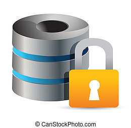 secure Computer database illustration design over white