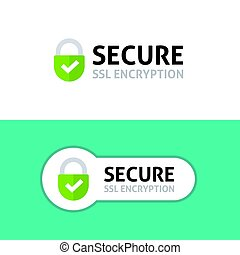 Secure connection icon, secured ssl protected safe data...