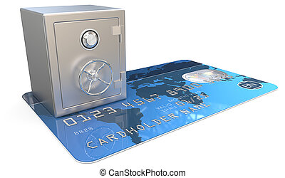 Secure Credit Card. - 3D render of Blue Credit Card with a...