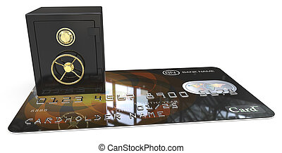 Secure Credit Card. - 3D render of Credit Card with a Black...