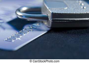 Secure Credit - A lock on a credit card for security and...