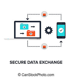 Abstract flat vector illustration of secure data exchange concept isolated on white background. Design elements for web.