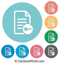 Secure document flat round icons