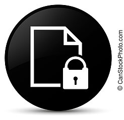 Secure document icon black round button