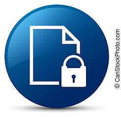 Secure document icon blue round button