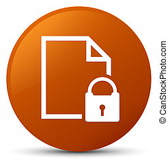 Secure document icon brown round button
