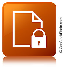 Secure document icon brown square button