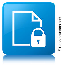 Secure document icon cyan blue square button