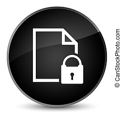 Secure document icon elegant black round button
