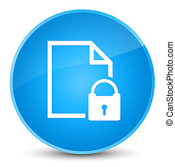 Secure document icon elegant cyan blue round button