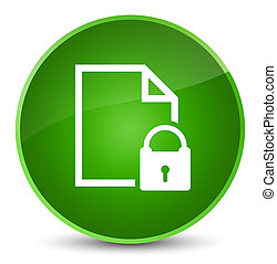Secure document icon elegant green round button
