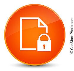 Secure document icon elegant orange round button