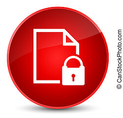 Secure document icon elegant red round button