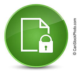 Secure document icon elegant soft green round button