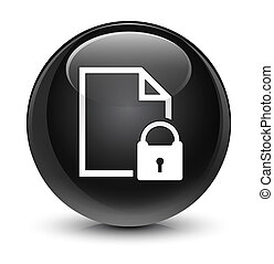 Secure document icon glassy black round button