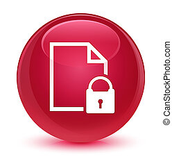 Secure document icon glassy pink round button
