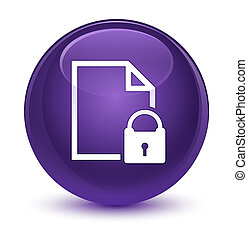 Secure document icon glassy purple round button